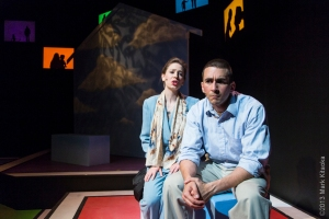 """John (Giammona) has his ups and downs with his sister (Teeter) in Hillbarn Theatre's production of """"John and Jen"""" (Photo by Mark Kitaoka"""