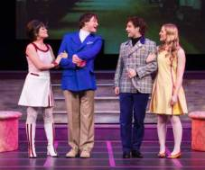 "(l-r) Gwendolen (Mindy Lym), Jack (Hayden Tee),  Algernon (Euan Morton), and Cecily (Riley Krull) delve into the world of love and deception in ""Being Earnest"" at TheatreWorks. (Photo by Mark Kitaoka)"