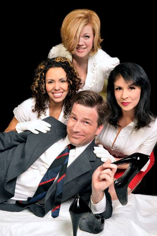 "The cast of ""Boeing Boeing,"" playing through June 30th at Palo Alto Players - MIke Rhone (c), (l to r) Damaris Devito, Robyn Winslow and Nicole Martin (Photo by Joyce Goldschmid)"