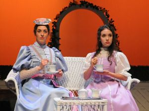 "Cecily (Jessica Waldman and Gwendolen (Ruth Marks) try to make sense out of the chaos in Oscar Wilde's ""The Importance of Being Earnest"" at Stanford Summer Theater. (Photo by  Stefanie Okuda)"
