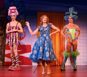 "Mitzi Mitosis (Wade McCollum), Marion (Christy Faber) and Felicia (Bryan West) meet up at Marion's casino in ""Priscilla, Queen of the Desert."" (Photo by Joan Marcus)"