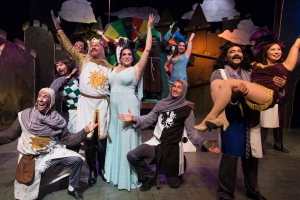 "The cast of ""Spamalot"" at Hillbarn Theatre in Foster City are celebrating their extension, with a new closing date of Sept. 29th. (Photo by Mark Kitaoka)"