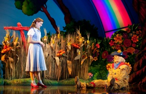 "Dorothy (Danielle Wade) befriends the Scarecrow (Jamie McKnight) as she travels down the Yellow Brick Road in ""The Wizard of Oz,"" playing at San Francisco's Orpheum Theatre through Sunday, Oct. 27th. (Photo by Cylla Von Tiedemann)"