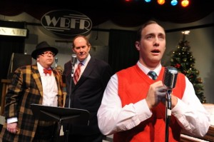 "(L to R) Martin Rojas Dietrich, Kevin Blackton and Will Springhorn, Jr. portray multiple characters in San Jose Stage's ""It's a Wonderful Life - A Live Radio Play."" (Photo by Dave Lepori)"