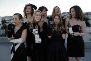 The women of the sketch comedy group Chardonnay bring their humor to San Francisco for four performances (Top row L to R - Emma Rose Shelton, Sarah Wright, Rachel Rockwood. Bottom row, L to R - Jess Mele, Leah Shesky, Kate Jones, Meredith Terry) (Photo by PianoFight Productions)