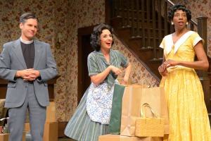 """The local clergyman (Timothy Redmond) attempts to provide perspective to Bev (Lynda DiVito) and Francine (Velina Brown) in """"Clybourne Park"""" at Center REP. (Photo by mellopix.com)"""