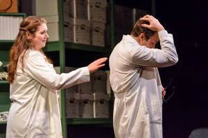 """Emma (Kendall Callaghan) attempts to connect to her boss George (Jeffrey Bracco) in """"The Language Archive"""" at City Lights Theatre Company, running through June 29th. (CLTC.org photo)"""