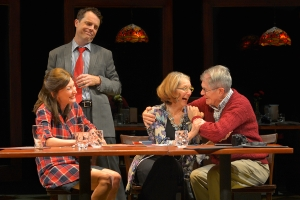 "Maddie (Carrie Paff), Robbie (Mark Anderson Philips), Nicole (Catherine MacNeal), and Sam (Richard Farrell) share some much needed laughs in San Jose Repertory Theatre's ""The Big Meal."" (Photo by Kevin Berne)"