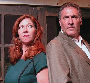 """Teddy (Dan Kapler) and Trish (Betsy Kruse Craig) have reached a crossroads in their marriage in the interlocking plays """"House and Garden."""" (Photo by J. Smith)"""