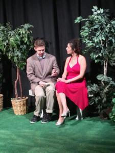 """Jake Mace (Jeremy Ryan) and Lucille Cadeau (Nicole Martin) have a chat in """"Garden,"""" playing through Oct. 5th at the Pear Avenue Theatre. (Photo by J. Smith)"""