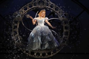 "Galinda (Chandra Lee Schwartz) cascades down to Oz in Broadway San Jose's production of ""Wicked,"" which runs through Sept. 14th at the Center for Performing Arts. (Photo by Joan Marcus)"