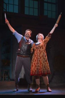 "Sweeney Todd (David Studwell) and Mrs. Lovett (Tory Ross) find a ""recipe"" for success in ""Sweeney Todd: The Demon Barber of Fleet Street"" at TheatreWorks Silicon Valley through Nov. 2nd. (Photo by Kevin Berne)"