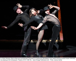 "Ryan Worsing, Bianca Marroquin and Michael Cusumano showcase their vaudeville skills in Broadway's ""Chicago,"" in San Francisco through Nov. 16th. (Photo by Jeremy Daniel)"