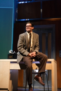 "Ambitious junior executive and eligible bachelor Chuck Baxter (Jeffrey Brian Adams) looks to advance at his insurance company in ""Promises, Promises"" at San Francisco Playhouse through Jan. 10th. (Photo by Jessica Palopoli)"