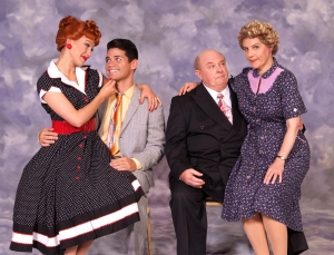 "Lucy (Thea Brooks), Ricky (Euriamis Losada), Fred (Kevin Remington) and Ethel (Lori Hammel) bring the classic television show ""I Love Lucy"" to San Francisco in ""I Love Lucy Live on Stage"" at the Curran Theatre in San Francisco. (Photo by Ed Krieger)"