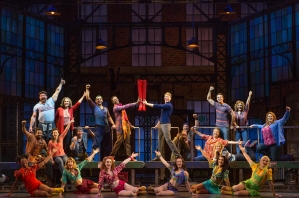 """Anne Tolpegin (Top left, red sweater) and the rest of the cast of """"Kinky Boots"""" comes to San Francisco through Dec. 28th at the Orpheum Theatre. (Photo by Matthew Murphy)"""