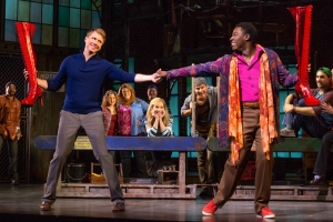 "Charlie (Steven Booth) and Lola (Kyle Taylor Parker) embark on a new shoe adventure in ""Kinky Boots,"" at the Orpheum Theatre in San Francisco through Dec. 28th. (Photo by Matthew Murphy)"
