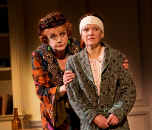 "Madame Arcati (Angela Lansbury) and Edith (Susan Louise O'Connor) assess the supernatural situation in Noel Coward's ""Blithe Spirit"" through Feb. 1st at the Golden Gate Theatre in San Francisco. (Photo by Robert J. Saferstein)"