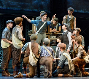 "Jack Kelly (Dan DeLuca, center) leads his fellow newsboys on a strike in ""Newsies,"" running in San Francisco through March 15th. (Photo by Deen Van Meer)"