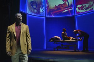 "Former San Francisco 49er Dwight Hicks helps audiences understand our ""Warrior Ethos"" in ""X's and O's (A Football Love Story) at Berkeley Rep. (Photo by kevinberne.com)"