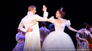 "Prince Topher (Andy Huntington Jones) and Cinderella (Paige Faure) find love in ""Cinderella."" (Photo by Carol Rosegg)"