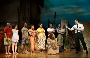 "Ncube and others in the company of ""The Book of Mormon."" (Photo by Joan Marcus)"