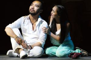 "Jesus Christ (Brian Palac) shares a moment with Mary Magdalene (Katherine De La Cruz) in ""Jesus Christ Superstar"" at Stage 1 in Newark. (Photo by Debbie Blanchard Otterstetter)"