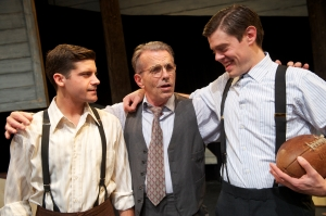 """Willy Loman (Randall King, center) bonds with his sons Happy (Jeffrey Brian Adams, left) and Biff (Danny Jones) in Arthur Miller's """"Death of a Salesman"""" at San Jose Stage Company. (Photo by Dave Lepori)"""