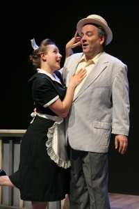 George (Albright) must deal with sassy Sabina (Lauren Hayes), a character who spends lots of time talking and complaning to the audience. (Photo by Terry Sullivan)