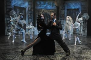 Morticia (Allison F. Rich) and Gomez (Johnny Moreno) enjoy a passionate pas de deux in