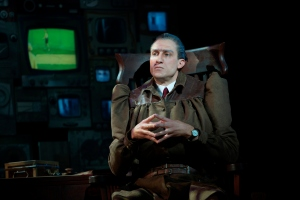 Bryce Ryness plays stern taskmistress Miss Trunchbull, with hilarious results. (Photo by Joan Marcus)