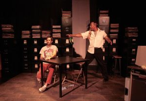 Webster (Jonathan Liszanckie, left) and Kavanagh (Eric Reid) stumble on common ground in