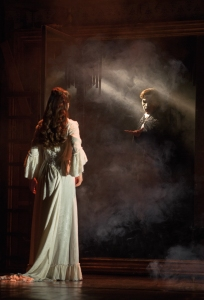 "The Phantom (Chris Mann) reveals himself to Christine (Katie Travis) in Andrew Lloyd Webber's ""The Phantom of the Opera,"" running at the Orpheum Theatre through Oct. 4th. (Photo by Matthew Murphy)"