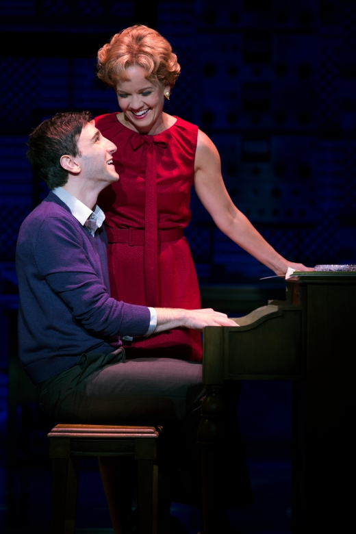 """(L to R) Barry Mann (Ben Fankhouser) and Cynthia Weil (Becky Gulsvig) share their iconic songs in """"Beautiful: The Carole King Musical"""" in San Francisco through Sept. 18th. (Photo by Joan Marcus)"""